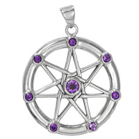 Sterling Silver Large Septagram with Amethyst Gemstone Pendant