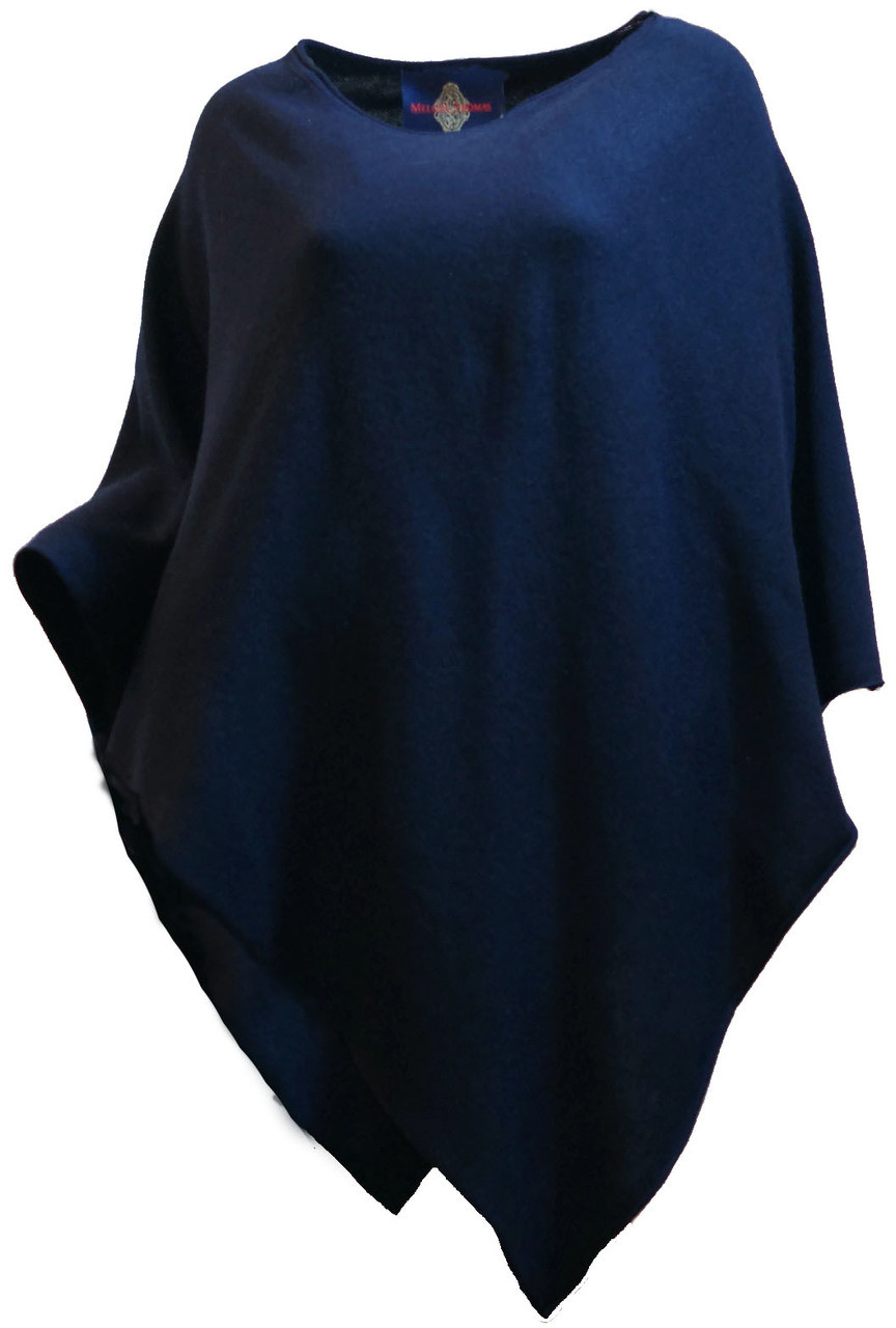 Ladies 100% Cashmere Dark Navy Blue Sweater Knit Poncho Top ...