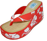 Womens Red Hibiscus High Wedge