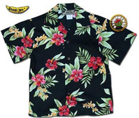 Boys Pele Red Hawaiian Shirt