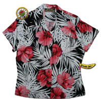 Hibiscus Volcano Womens Fitted Hawaiian Shirt