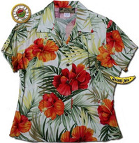 Kona Red Womens Fitted Hawaiian Shirt