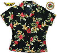 Pele Red Womens Fitted Hawaiian Shirt