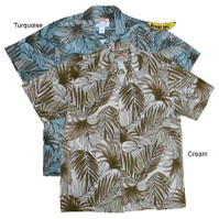 Island Palm Frond Men's Cotton Hawaiian Shirts