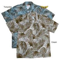 Island Palm Frond Men's Cotton Hawaiian Shirts