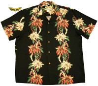Poinsettia Panel Men's Rayon Hawaiian Aloha Shirt