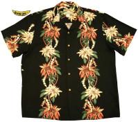 Poinsettia Panel Men's Rayon Hawaiian Aloha Shirt