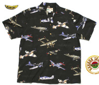Wold War II Fighter Planes Men's Hawaiian Rayon Shirt