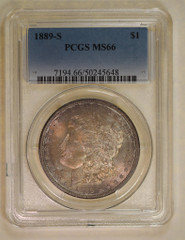 1889-S Morgan Dollar, NGC or PCGS graded MS66