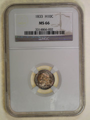 1833 Capped Bust Half Dime, PCGS or NGC graded  MS66