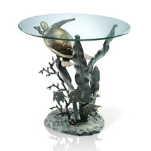Sea Turtle Glass Top End Table