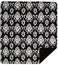 "Black Medallion Microplush Throw 50"" x 60"""