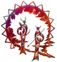 Guardian Shaman Metal Wall Art by Lazart