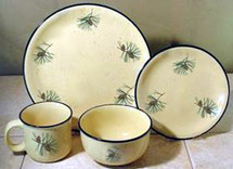 Pine Cone Dinnerware Set/16 Lodge Collection