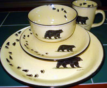 Black Bear with Tracks Dinnerware Set/16 Lodge Collection