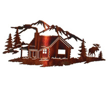 """Night Moose With Mountains"" Metal Wall Art by Lazart"