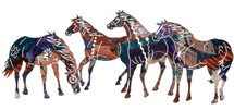 Painted Ponies Metal Wall Art