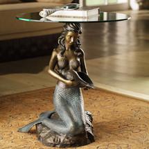 Mermaid Glass Top End Table
