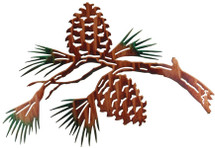 "30"" Pine Cone Branch Metal Wall Art"