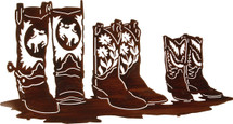 Family Affair - Cowboy Boots Metal Wall Art by Lazart