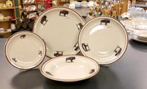 20 Piece Buffalo Wildlife Classic Rustic Brown Speckled Dinnerware