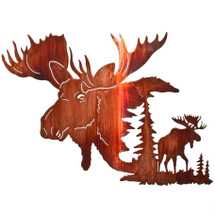 "Lazart ""Yaak Bull Moose"" Moose Metal Wall Art"