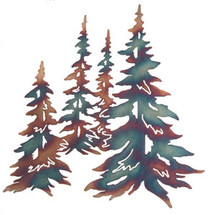 Multiple Pine Trees Metal Wall Art