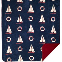 Atlantic Blue Sailboat Microplush Throw
