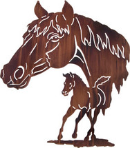 Reflections Mare & Colt Metal Wall Art