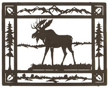 "Moose Sculptures: Lazart ""Moose Meadow"" Metal Wall Art"