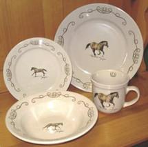 Closeout! Western Horse w/Lariat Rim Dinnerware Set/16