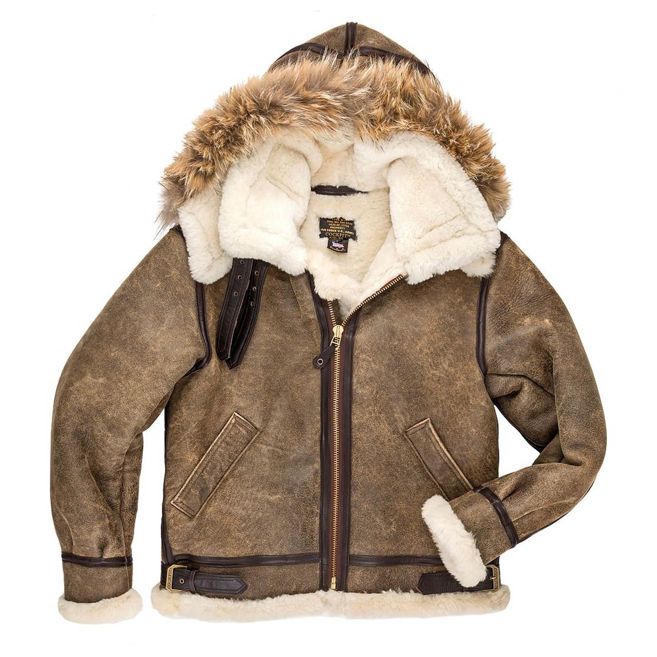 Cockpit USA B-3 Hooded Sheepskin Bomber Jacket - Bradshaw Forbes