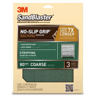 3M SandBlaster No-Slip Grip Sanding Sheets 9-Inch by 11-Inch 80-Grit Coarse 3-Sheets