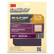 3M SandBlaster No-Slip Grip Sanding Sheets 9-Inch by 11-Inch 100-Grit Medium 3-Sheets