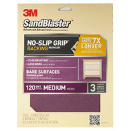 3M SandBlaster No-Slip Grip Sanding Sheets 9-Inch by 11-Inch 120-Grit Medium 3-Sheets
