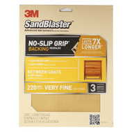 3M SandBlaster No-Slip Grip Sanding Sheets 9-Inch by 11-Inch 220-Grit Very Fine 3-Sheets
