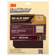 3M SandBlaster No-Slip Grip Sanding Sheets 9-Inch by 11-Inch 150-Grit Medium 3-Sheets