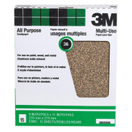 "3M 88593 Aluminum Oxide Sheets for Paint and Rust Removal, 9"" X 11"", 36D-Grit 25-Pack"