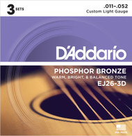 D'Addario EJ26-3D Phosphor Bronze Custom Light 11-52 Acoustic Guitar Strings 3 Sets