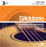 D'Addario EJ15-3D Phosphor Bronze Extra Light 10-47 Acoustic Guitar Strings 3 Sets