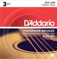 D'Addario EJ17-3D Phosphor Bronze Medium 13-56 Acoustic Guitar Strings 3 Sets