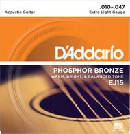 D'Addario EJ15 Phosphor Bronze Extra Light 10-47 Acoustic Guitar Strings