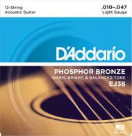 D'Addario EJ38 Phosphor Bronze Light 10-47 12-string Acoustic Guitar Strings