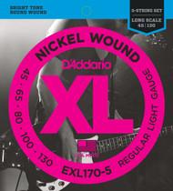D'Addario EXL170-5 Nickel Light 45-130 5-string Bass Guitar Strings