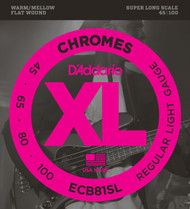 D'Addario ECB81SL Chromes Flat Wound Light Super Long 45-100 Bass Guitar Strings