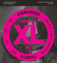 D'Addario ECB81SL Chromes Flat Wound Light Super Long 45-100 Bass Guitar Strings