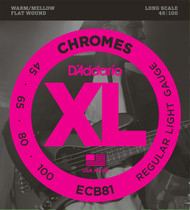 D'Addario ECB81 Chromes Flat Wound Light 45-100 Bass Guitar Strings