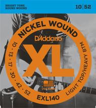 D'Addario EXL140 Nickel Light Top/Heavy Bottom 10-52 Electric Guitar Strings