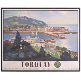 Torquay Railway Travel Poster, Original 1947 - REDUCED