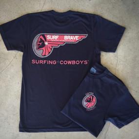 Surf Brave Surfing Cowboys Mens Tshirt Black